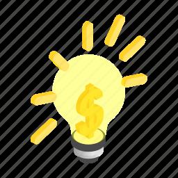 dollar, electric, electricity, energy, idea, inspiration, isometric icon