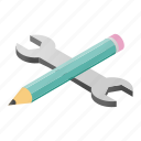 development, pencil, isometric, web, process, tool, wrench