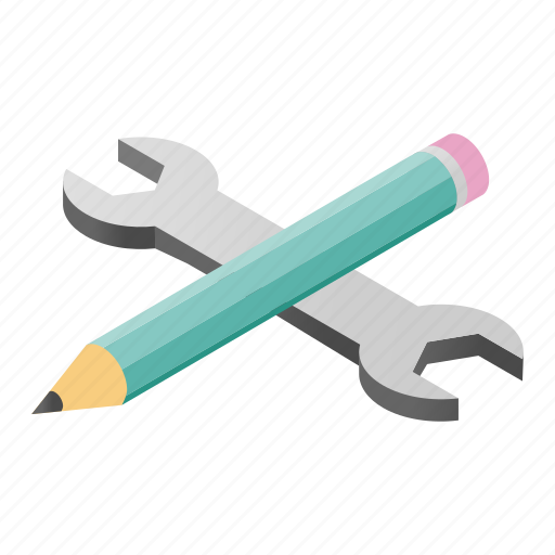 development, isometric, pencil, process, tool, web, wrench icon