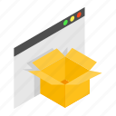 blank, box, business, cardboard, carton, folder, isometric icon