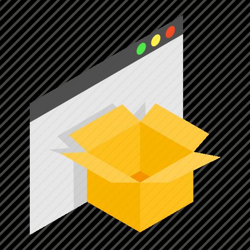 blank, box, business, cardboard, carton, folder, isometric icon