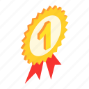 isometric, achievement, winner, award, competition, ribbon, first