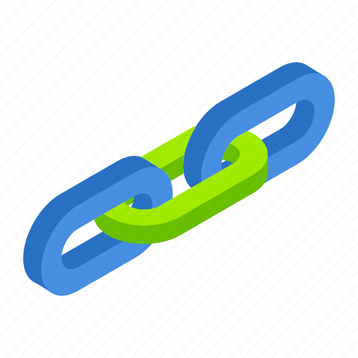 Isometric, strength, chain, hyperlink, object, connection, link icon