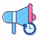 advertising, campaign, marketing, timing icon
