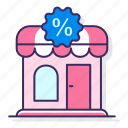 discount, percentage, promotions, store icon