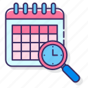 calendar, schedule, search, time