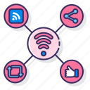 media, network, signal, social