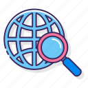 globe, magnifying glass, search, universal