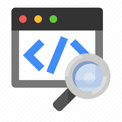 code, code search, magnifying glass, marketing, search, seo icon