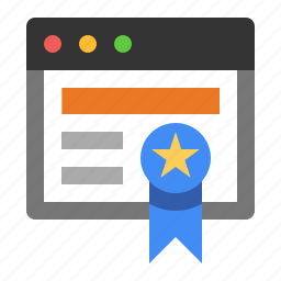 award, certificate, certified, marketing, ribbon, seo, webby icon