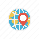 global, location, map, pin, world icon