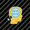 global, head, mind, search, seo icon