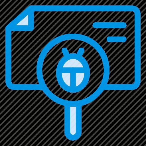 bug, bugfix, bugsearch, bugtracking, findbug, search, virus icon