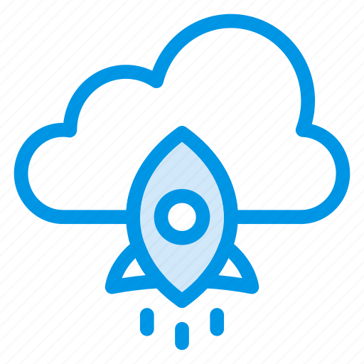 cloud, launch, network, project, rocket, space, startup icon
