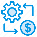 coin, dollar, earning, finance, gear, money, setting icon