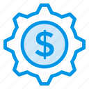 coin, finance, gear, money, options, payment, setting icon