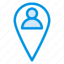 interface, location, man, people, person, pin, user icon