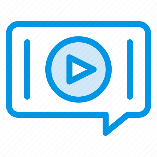 bubble, chat, media, message, messenger, talking, video icon
