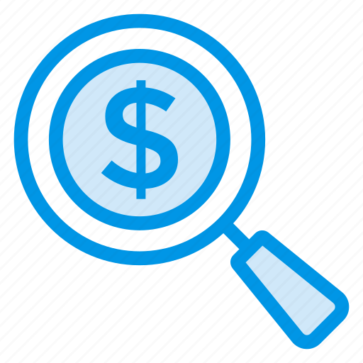 Search, currency, cash, glass, seo, magnifier, payment icon