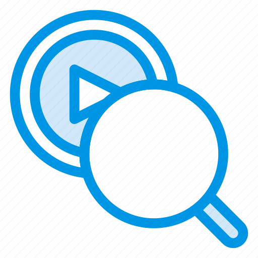 file, magnifier, marketing, play, search, seo, video icon