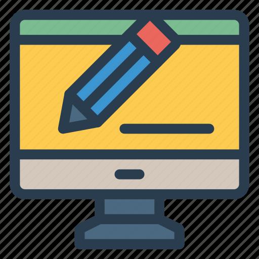 blogger, blogging, content, monitor, notebook, pencil, write icon