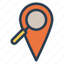 browse, find, finder, gps, location, magnifier, search icon