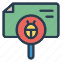 bug, bugfix, bugsearch, bugtracking, findbug, search, virus icon