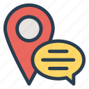 bubble, chat, comment, help, location, pin, support icon