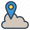 cloud, gps, location, marker, pin, server, storage icon