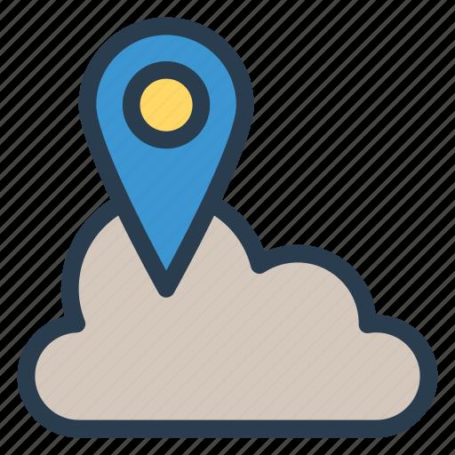 cloud, gps, location, marker, pin, server, storage icon