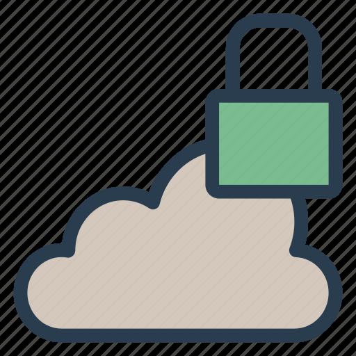 cloud, data, lock, locked, secure, security, storage icon