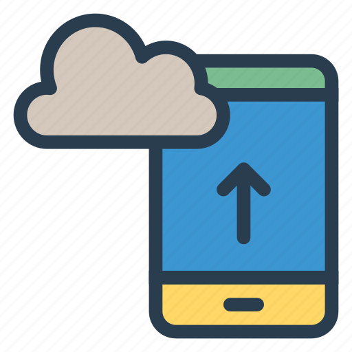cloud, data, device, mobile, phone, storage, upload icon