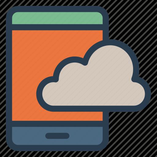 cloud, mobile, phone, smart, storage, telephone icon