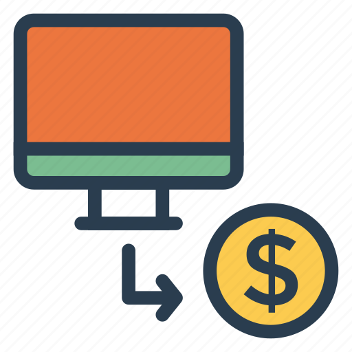 cent, coin, computer, device, dollar, monitor, screen icon