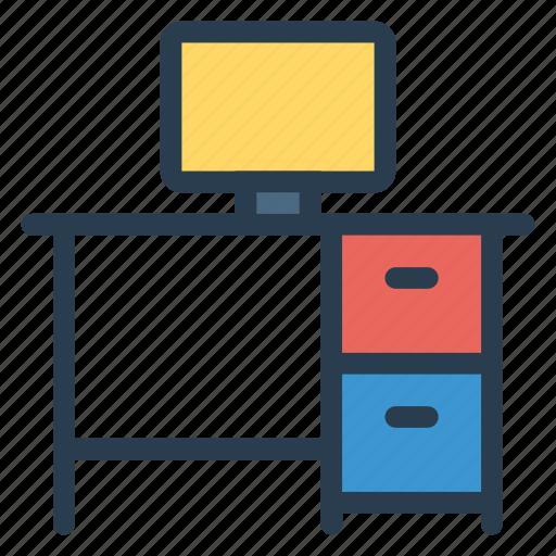 computer, desktop, furniture, interior, monitor, screen, table icon