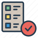 checklist, document, file, list, page, paper, tick icon