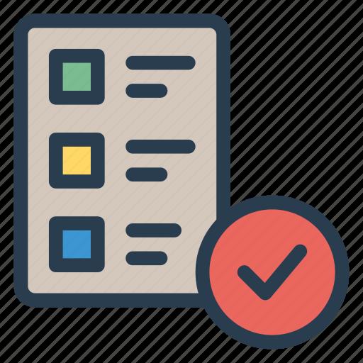checklist, document, file, list, page, paper, tick icon