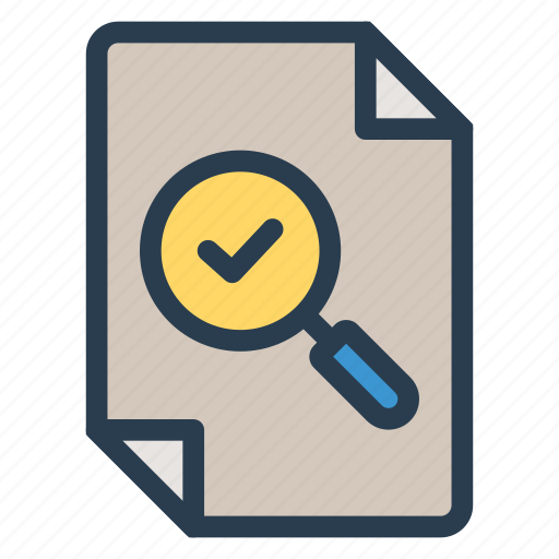 check, file, note, search, spyglass, view, zoom icon