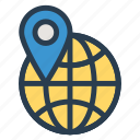 global, gps, international, location, locator, pin, worldwide icon