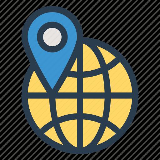global, gps, international, location, locator, pin, worldwide icon