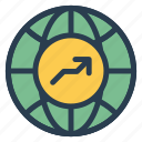 arrow, earth, finance, global, map, web, world icon