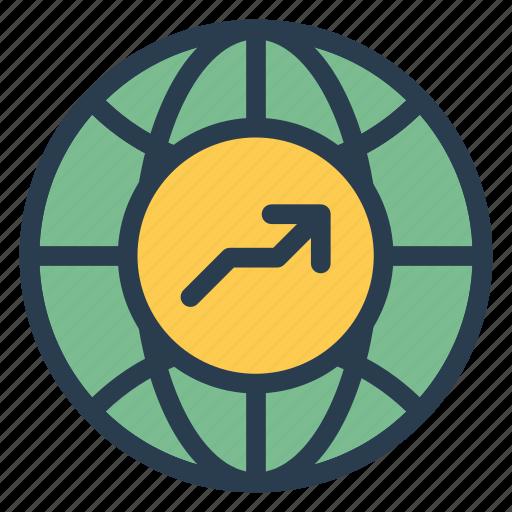 arrow, earth, finance, global, map, web, world icon