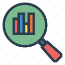 diagram, graph, magnify, marketing, report, search, statistic icon