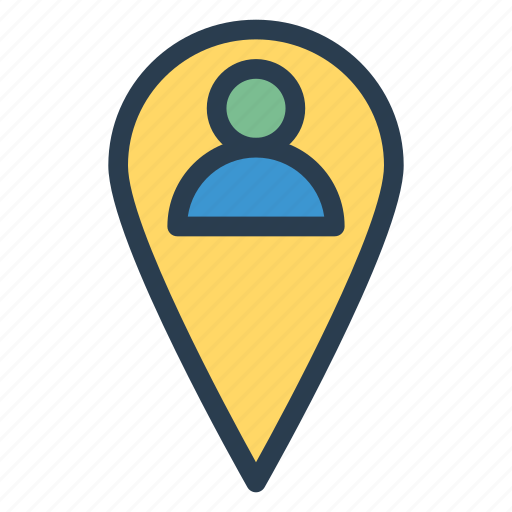 Pin, people, person, location, interface, man, user icon