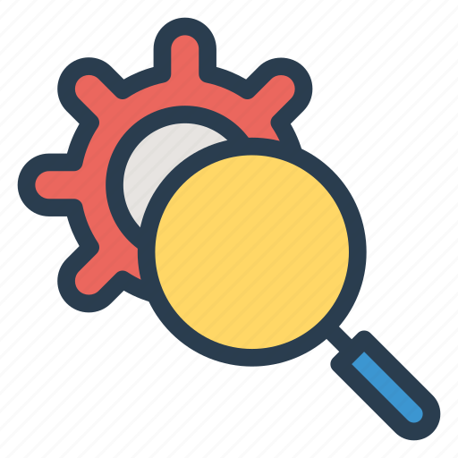 business, gear, keyword, magnifier, search, seo, setting icon