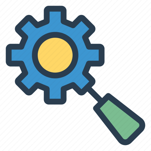 cog, gear, magnifier, optimization, search, setting, zoom icon