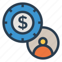 account, coin, dollar, finance, man, person, user icon