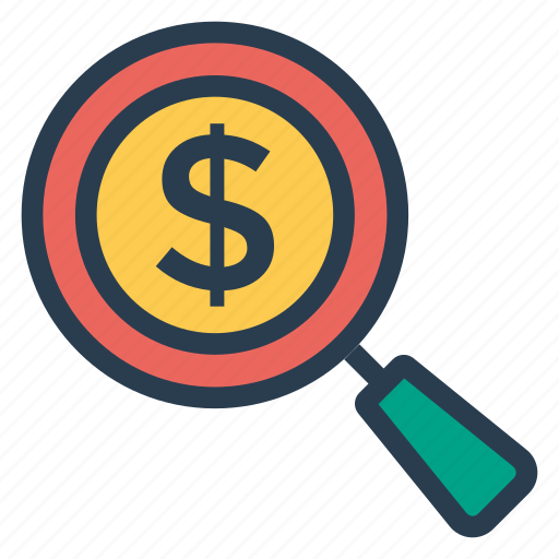 cash, currency, glass, magnifier, payment, search, seo icon