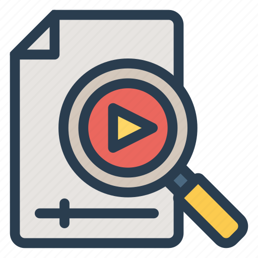 magnifier, marketing, media, play, search, seo, video icon