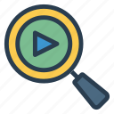 file, find, magnifying, multimedia, search, seo, video icon